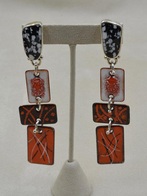4 Part, White Buffalo, Copper Enamel Pieces Earrings by Melanie DeLuca