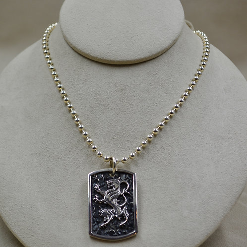 Sterling Silver Lion Dog Tag on 4mm SS Ball Chain by JL McKinney