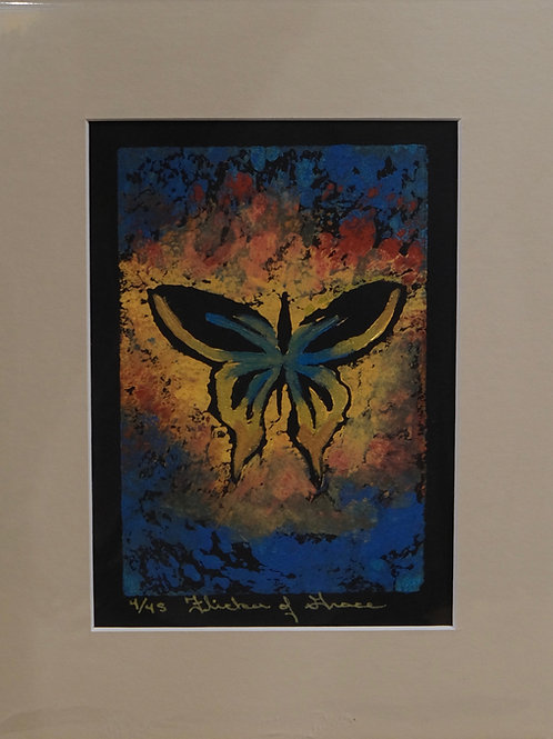 """""""Flicker of Grace"""" 4/45 Hand-Pulled Block Print by Sandy Swallow"""