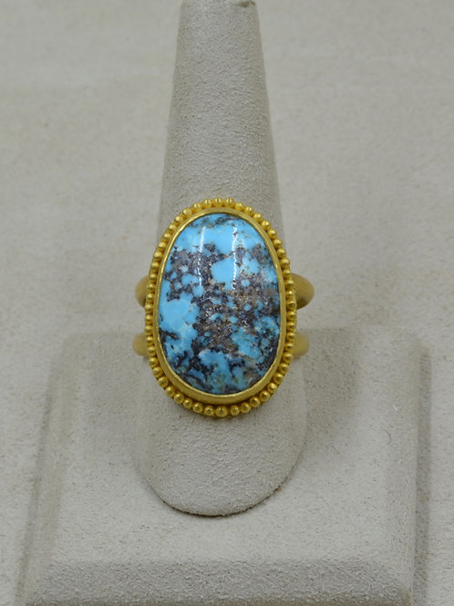 22k/20k Gold Granulated, Turquoise Double Shank 10x Ring by Pamela Farland