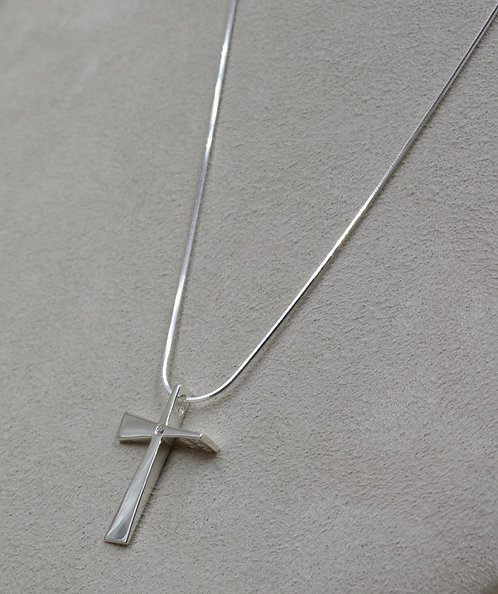 Sterling Silver Small Trinity Cross w/ Diamond Necklace by Charles Sherman