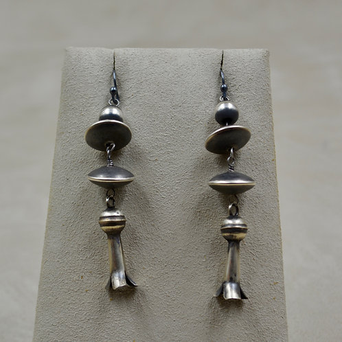 Navajo Pearl Oxidized Sterling Silver Saucers & Squash Blossom Drop Earrings