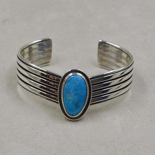 Sterling Silver and Natural Morenci Hi-Grade Turquoise V Cuff by Steve Taylor