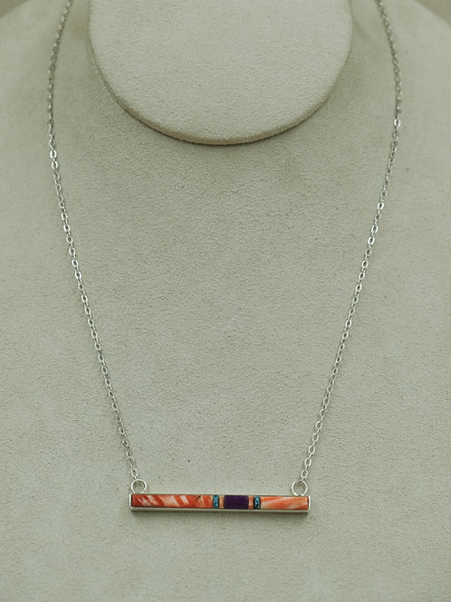 Bar Pendent w/ Spiny Oyster, Sugilite, & Turquoise Necklace by Veronica Benally