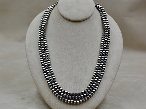 """Navajo Pearls Oxidized Sterling Silver X-Long 6mm 72"""" Necklace"""