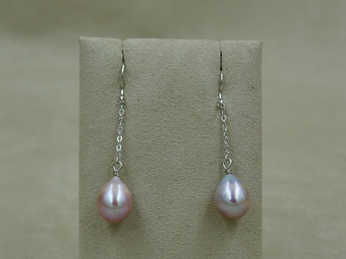 Cultured Freshwater Pink Pearl & Sterling Silver Earrings by US Pearl