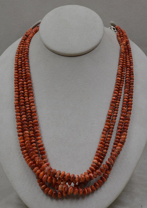4 Strand Orange Spiney Oyster w/ Shell Heishi Necklace by Kenneth Aguilar