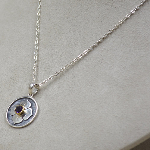Sterling Silver Small 4 Petal Lotus Necklace by Roulette 18