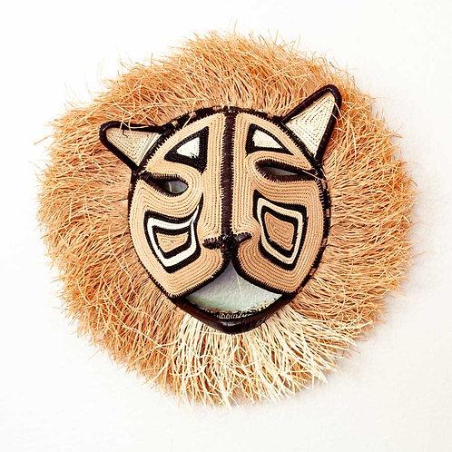 "Male Pink Cat Emberá Mask by Felicinda Guaynora - 13""W x 13""H"