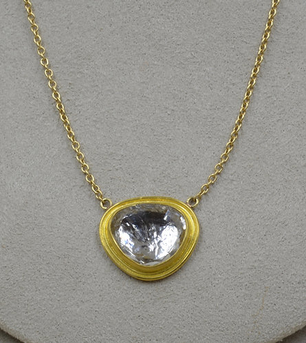 22k Gold & Rosecut Rock Crystal w/ 18k Platinum Necklace by Pamela Farland