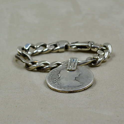 S.S. Heavy Link Bracelet w/ Sea Salvaged 1879 Mexican Coin by Melanie DeLuca