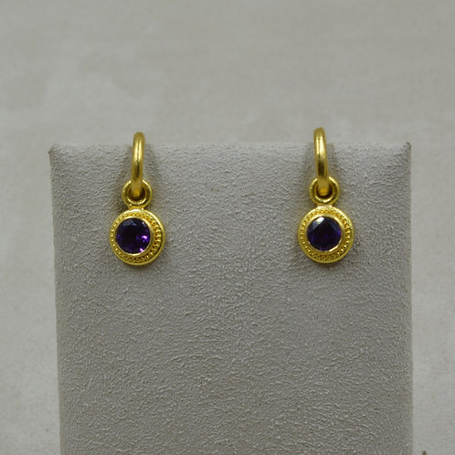 22k Gold Granulated, Faceted Amethyst Drops Only by Pamela Farland