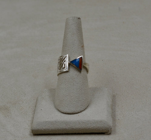 Coral, Turquoise, & Sterling Silver Arrow 7x Ring by Lente