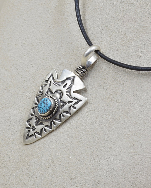 S. Silver Arrowhead w/ Natural Blackweb Kingman Turquoise Pendant by Elgin Tom