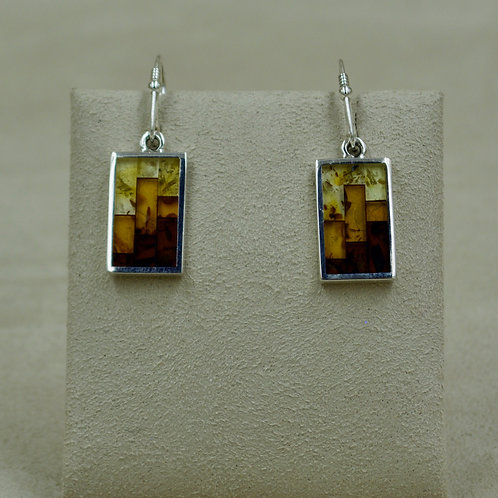 Amber Mosaic & Sterling Silver Small Rectangle Earrings by MTM Silver