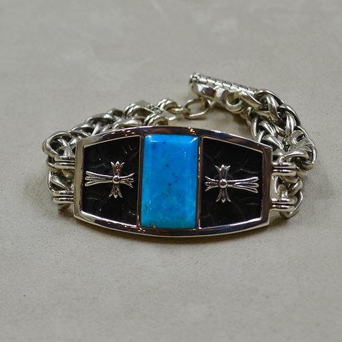 2 Row Wheat Chain w/ Large Kingman Turquoise & Cross Bracelet by JL McKinney