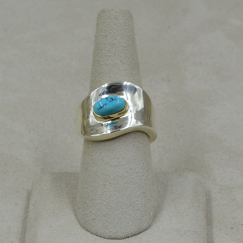 S. Silver Dished 7x Ring w/ Nat. Lone Mtn. Turquoise, 14k Bezel by Tim Busch