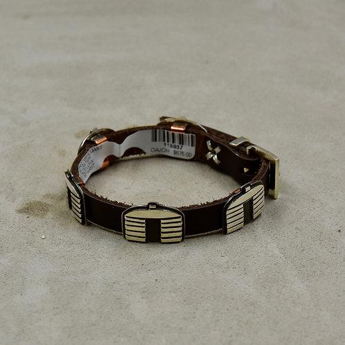 5pc Sterling Silver Hogans on Leather Bracelet by Alonzo John