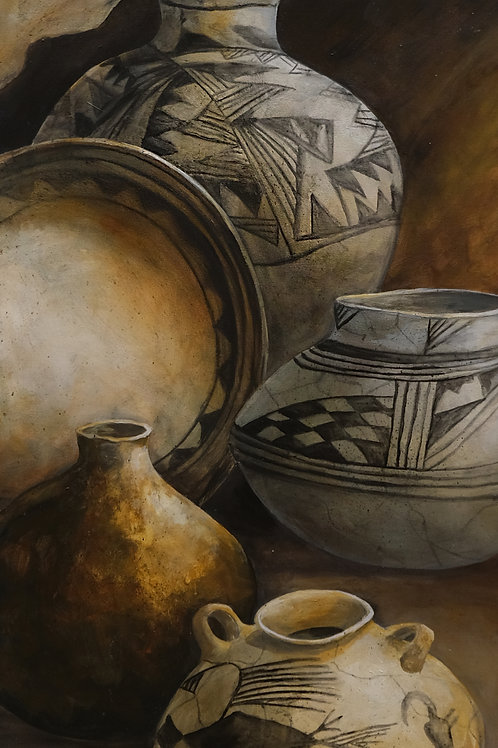 """""""Anasazi"""" Acrylic on Canvas 48"""" x 24"""" Painting by Connie Baker"""