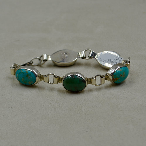Multi-Turquoise 5 Stone Sterling Silver Bracelet by James Saunders