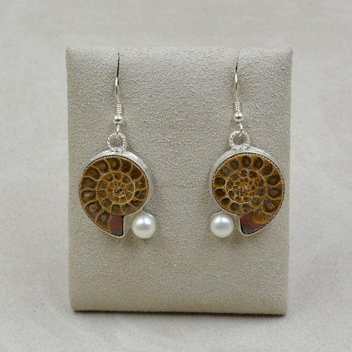 Ammonite, Pearl, and Sterling Silver Earring by Joe Glover