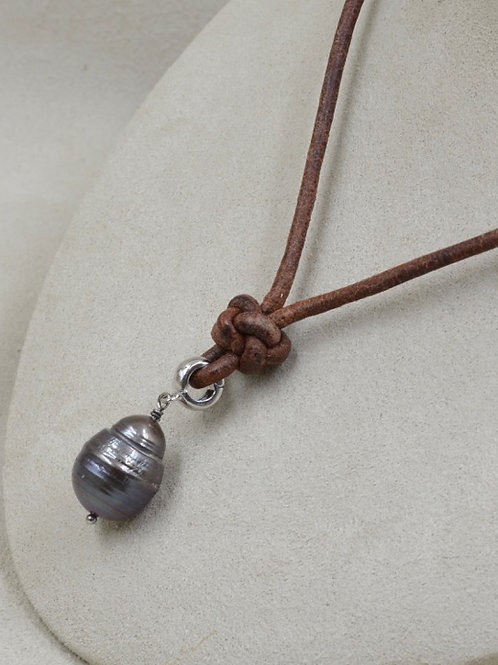 Cultured Freshwater Peacock Pearl Drop Necklace on Brown Leather by US Pearl Co.