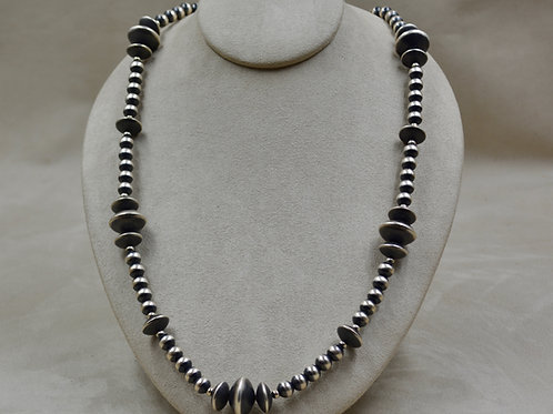 "Navajo Pearls Oxidized Sterling Silver Beads and Saucers 38"" Necklace"