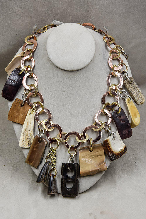 Mastodon Bone and Wooly Mammoth Charm Necklace by Melanie DeLuca