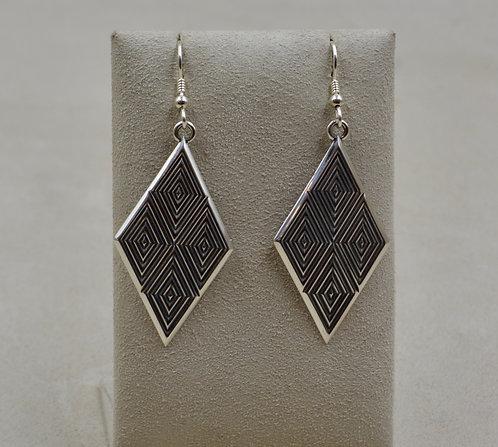 Sterling Silver 4 Diamond w/ Border Earrings by Steve Taylor