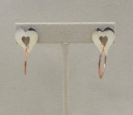Sterling Silver Heart with Copper Hoop Earrings by Richard  Lindsay