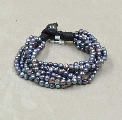 7 Strand Peacock Pearl Bracelet by US Pearl Co.