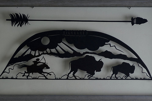 """'Buffalo Hunt' - Paper Cut - Framed - 11"""" x 12"""" - by Valerie Rangel"""