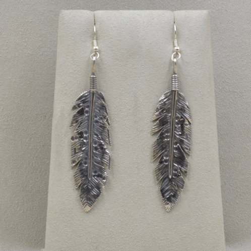Sterling Silver Large Owl Feather Earrings by Richard Lindsay