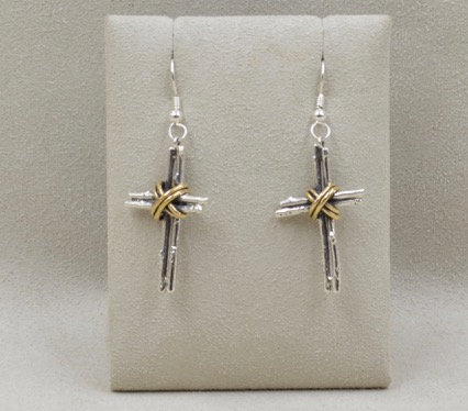 Sterling Silver and Brass Cross Earrings by Richard Lindsay