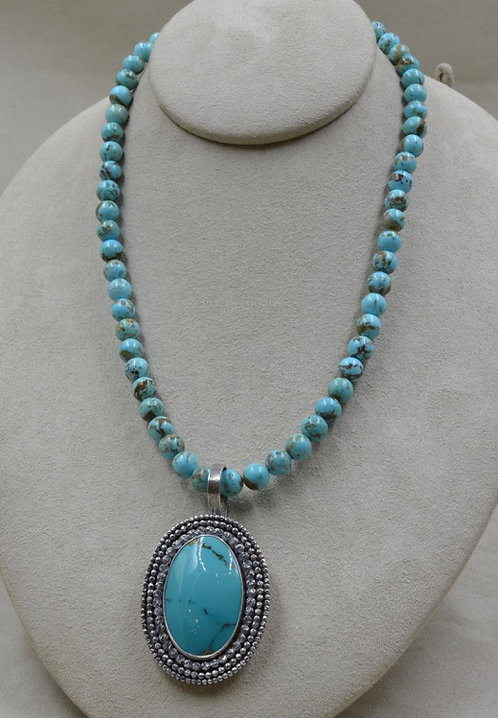 Kingman Turquoise Beads, Handforged SS, Nacozari TQ Pendant by Michele McMillan