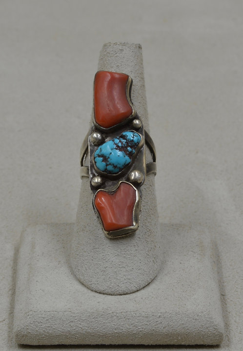 Vintage Coral, Kingman Turquoise & Sterling Silver 7x Ring
