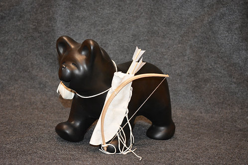 Black Bear with Red Oak Bow Sculpture by Randy Chitto