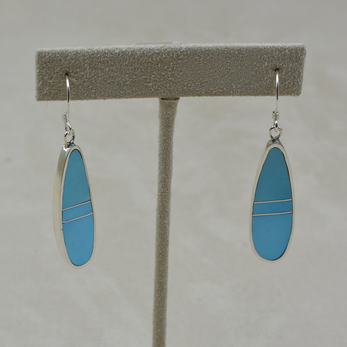 S. Silver dished Earrings w/ Natural Sleeping Beauty Turquoise by Tim Busch
