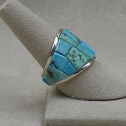 Inlaid Shield with Carico Lake and Blue Gem Turquoises 8X Ring by Dukepoo