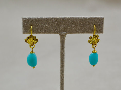 20/22k Gold Repousse & Amazonite Earrings by Pamela Farland