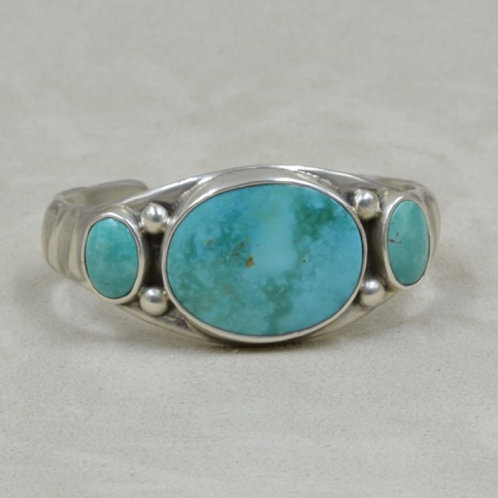 Super Rare Hi Grade Tyrone Turquoise w/ Ingot Cuff by Jerry Faires