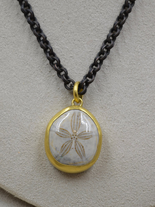 Fossilized Sand Dollar on Oxidized SS Chain by Pamela Farland