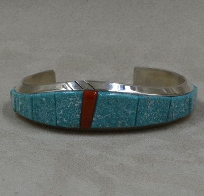 Sterling Silver, Kingman Turquoise & Coral Cuff by Dukepoo