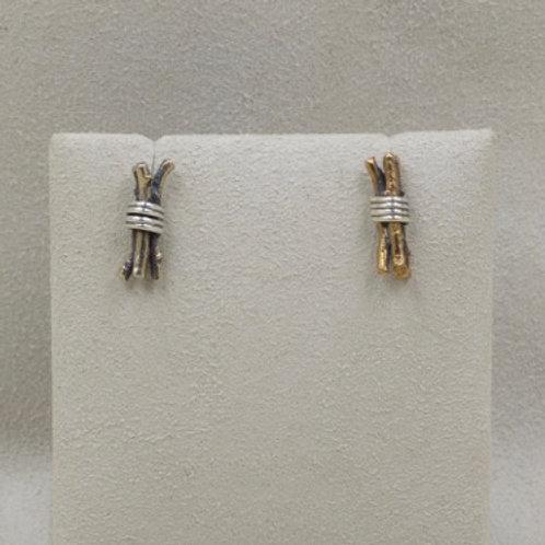 Bronze Twig Bundle Earrings by Richard Lindsay
