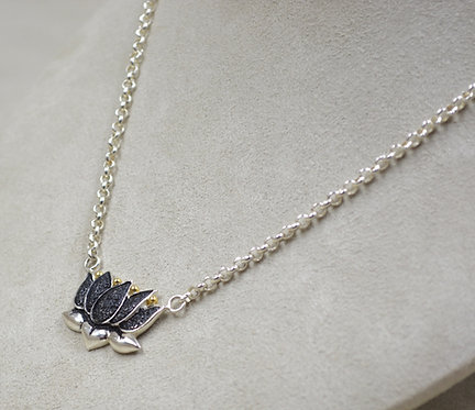 Sterling Silver Oxidized Lotus 18k Plate Necklace on Chain by Roulette 18
