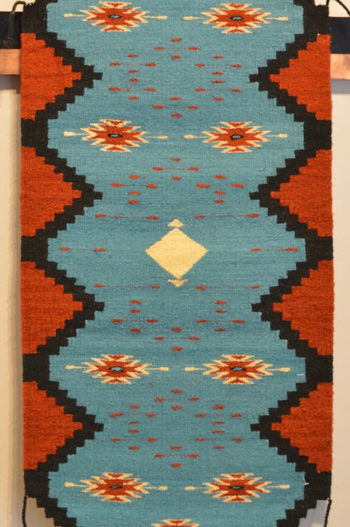"""Turquoise Table Runner - 17"""" X 42"""" - Zapotec"""