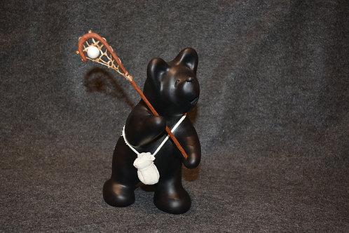 Medium Black Bear Lacrosse Player Sculpture by Randy Chitto