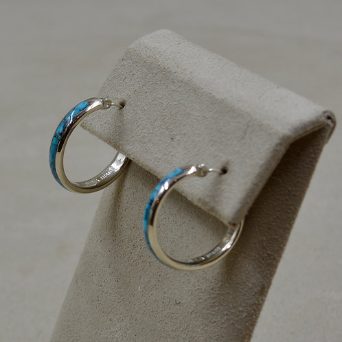 All Blue Turquoise w/ Matrix Sterling Silver Petite Hoop Earrings by Lente