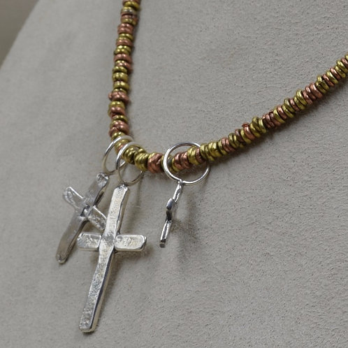 3 Sterling Silver Crosses on Brass & Copper Beads by Richard Lindsay