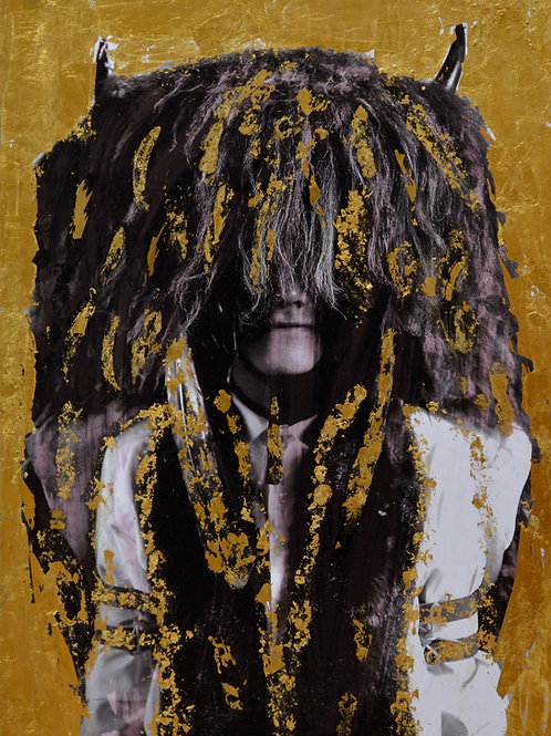 """Watch Me"" Black & White Photo w/ Gold Leaf - 18"" x 24"" - by Robert Mesa"